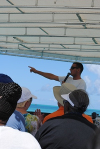 Our glass-bottom boat captain, James. He's a 5th generation Bermudian and constantly barefoot.